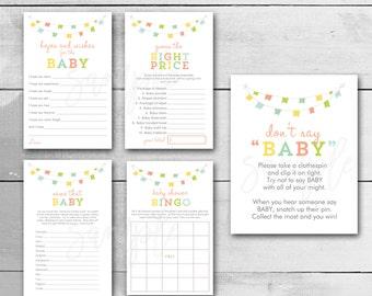 Printable Baby Shower Games, Baby Shower Games Bundle, Gender Neutral Design, Instant Download / PRINTABLE / 149