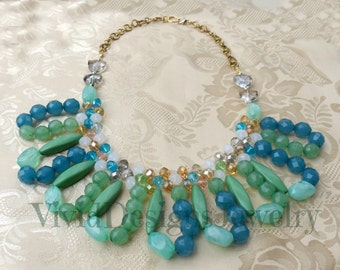 Jade Green Multi Color Bib Bubble Statement Necklace - Chunky Necklace