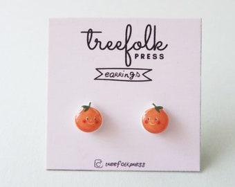 Tangerine Handmade Earrings - Illustrated Earrings - Stainless Earrings - Botanical Art