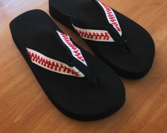Baseball Sandals | Baseball Flip Flops Fabric Stitch | Sports Sandals | Sandals | Thongs | Sports Sandals | Gift for Her | Gift for woman