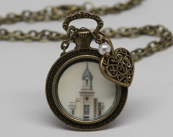 Cedar necklace etsy cedar city temple necklace locket pendant or key chain free aloadofball Image collections