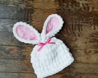 Newborn Baby Hat Easter Bunny Hat, Newborn Girl Bunny Ears Photo Prop, Newborn Hat, Crochet Baby Hat, White Hat