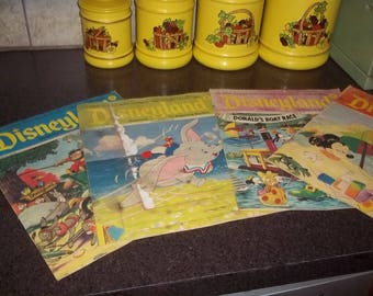 4 Disneyland Magazines, for beginning readers - dated 1972, Dumbo, Donald Duck, Mickey Mouse and