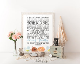 Printable art, Inspirational quote print, The Man in the Arena quote, Theodore Roosevelt quote, Motivational quote, HEART OF LIFE Design art