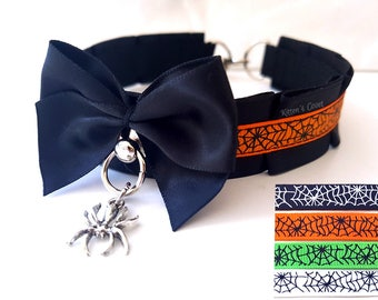 Spider Web Collar [4 Colours | Made to Order] Orange Black Green White Spiderweb Halloween Thin Pleated Kitten Play/Pet Play Collar