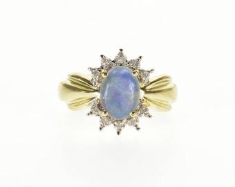 10k Opal* Oval Diamond Starburst Halo Scalloped Ring Gold