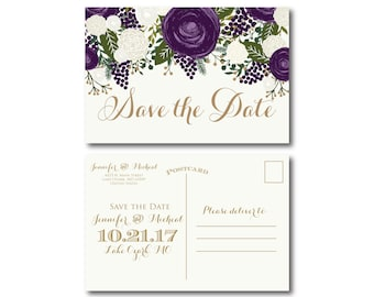 Vintage Wedding Save the Date - Fall Wedding - Vintage Floral - Floral Wedding - Vintage Wedding - Save the Date - Wedding Postcards #CL258