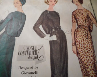 Vintage 1960's Vogue 141 Couturier Design by Giovanelli of Italy Dress Sewing Pattern Size 12 Bust 32