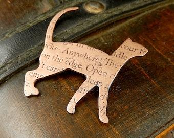 Copper cat brooch, cat jewellery, kitty jewellery, text jewellery, cat lover gift, cat fancier gift, crazy cat lady gift, animal jewellery