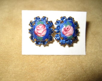 Guilloche Enamel Earrings Pierced Rhinestone Vintage