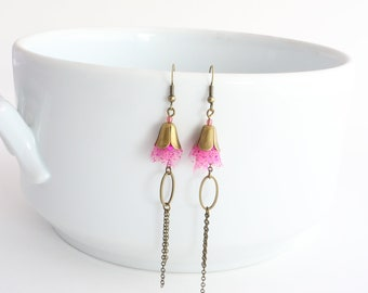 """Dancers"" earrings, pink tulle"