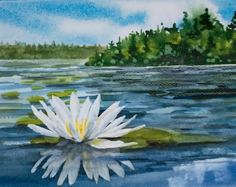 Annie's Lily, Watercolor Print, Maine, Pond, Green, Blue, Clouds, Water Lily