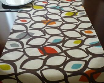 "Retro Orange Table Runner Coffee Console Table Dresser Multi Off- White Mid Century Funky Geometric Cotton (54"" 137cm)"