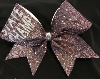 Rose Gold Sparkle Fabric Cheer Bow plain or with customization (as pictured)