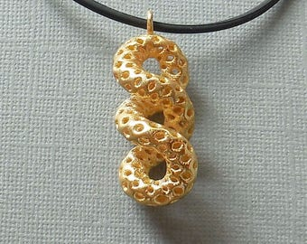 Cruller - 3D Printed Pendant in Gold Plated Steel | 3D printed jewelry