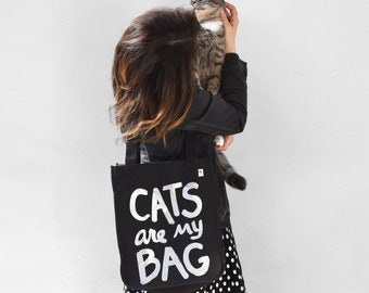 Organic Cotton CATS are my BAG canvas tote, Mothers Day gift for her, pet mom, cat gifts, cat lover gift, vet tech, cat lady, teacher gift