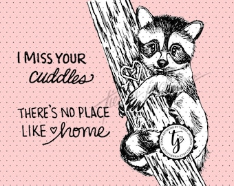 Raccoon Cuddles with two sentiments - instant download digital stamps by Tierra Jackson