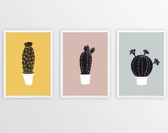 Cactus Print, Cactus Decor, Black And White Succulent Print, Succulent Plants Wall Decor, Cactus Wall Art, Succulent Gift Instant Download