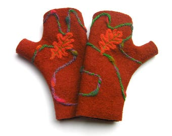 Mittens rust color, boiled wool fingerless gloves, women gloves, autumn's leave