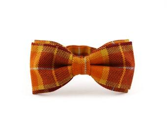 Men's Wool Bow Tie by BartekDesign: orange brown plaid tartan pre tied proms grooms