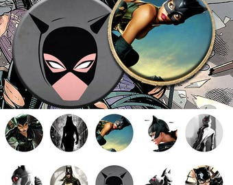 "Catwoman - 25mm - 1 inch One 4x6 high-resolution, 300dpi, JPEG file with 15 1"" Circle images."