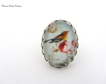 Glass ring, adjustable ring,bird ring,bird jewelry,oval ring,french jewelry, sunbathes ring,handmade ring,adjustable ring