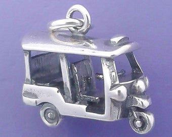 TUK TUK Asian TAXI Charm .925 Sterling Silver Rickshaw Pendant - d91135