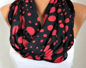 Black & Red Polka Dot Infinity Scarf, Mother Gift Circle Scarf Loop Scarf Gift Ideas For Her Women's Fashion Accessories