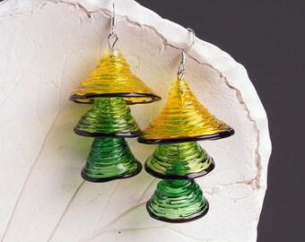 Yellow green bells lampwork earrings, glass bell earrings, yellow green earrings, multicolor earrings, transparent earrings, dangle earrings