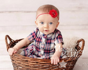 Red headband, baby headband, infant headband, newborn headband, newborn girl headband, hair clip, baby girl headband, elastic headband