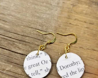 Wizard of Oz Book Page Earrings, Real Book Page Earrings, Dorothy and the Wizard, Dangle Book Earrings, Book Nook, MarjorieMae
