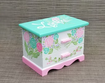 Baby Pink Personalized Shabby Roses Jewelry Box Wood Box Girls Pink Green Nursery Decor Castle