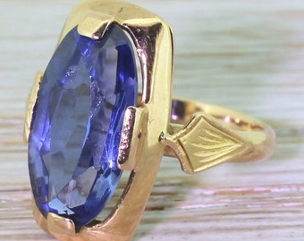 Vintage Soviet 3.50 Carat Synthetic Sapphire Dress Ring, circa 1980