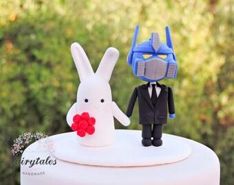 Bunny & Robot Wedding Cake Topper