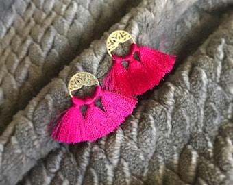 Clothing gift, Tassel earrings, Boho earrings, Pink Silk tassel round earrings, Wedding tassel earring, Mini tassel, Fashion lover, Bohemian