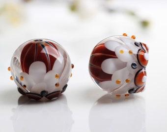 Lampwork Bead Pair for Earrings, Brown and White Petal Beads