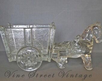 Vintage Glass Donkey Pulling a Cart