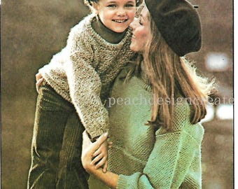 family sweater, pullover, knitting pattern, pdf, digital download