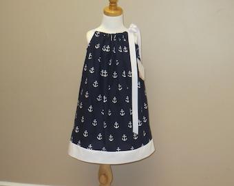 Girls Pillowcase Dress, Girls Sundress, Nautical Sundress, Beach Dress, Matching Doll Dress, Navy Dress