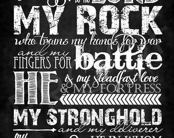 Scripture Art - Psalm 144:1-2 Chalkboard Style