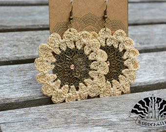 Flower Shaped, Dream Catcher Styled Crochet Earring with Metal, Bronze Charm - Crocheted by WoodCastle
