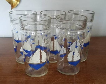 Vintage Sailboat Glass Set of 5