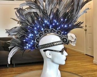 FREE SHIPPING! 'Silver Haze' Light-up Feather Mohawk. Burning Man.