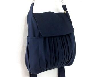 Canvas Bag Cotton bag diaper bag Shoulder bag Hobo bag Tote bag Messenger Purse Backpack Everyday bag  Dark Navy Blue Zinnia