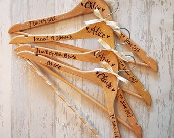 Hand Personalised Wedding Coat Hangers - Bride and Groom Coat Hangers - Bridal Party