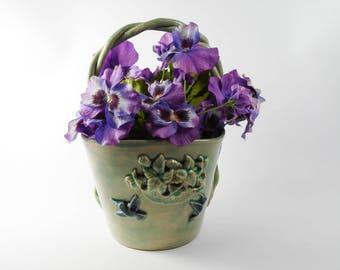 Hummingbird planter - Ceramic flower vase - basket vase - ceramic flower pot  V73