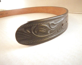 """Mens Western Tooled Black Leather Belt - Size 32 for Removable Buckle 1.5"""" Wide Double Snap - Womens"""