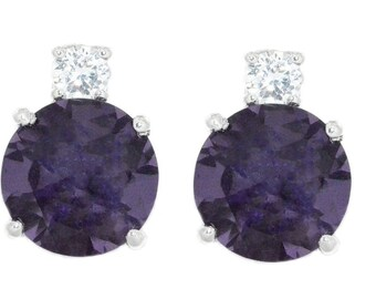 8 Ct Alexandrite & Zirconia Round Stud Earrings .925 Sterling Silver Rhodium Finish