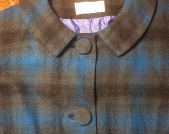 Cute 1950s Pendleton blue and green wool plaid jacket with Peter Pan collar