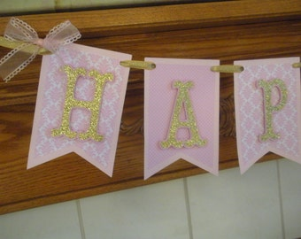 Pink and Gold Pennant Birthday Banner, Pink and Gold Glitter Birthday Banner, 1st Birthday Glitter Banner, Birthday Banner pink and gold